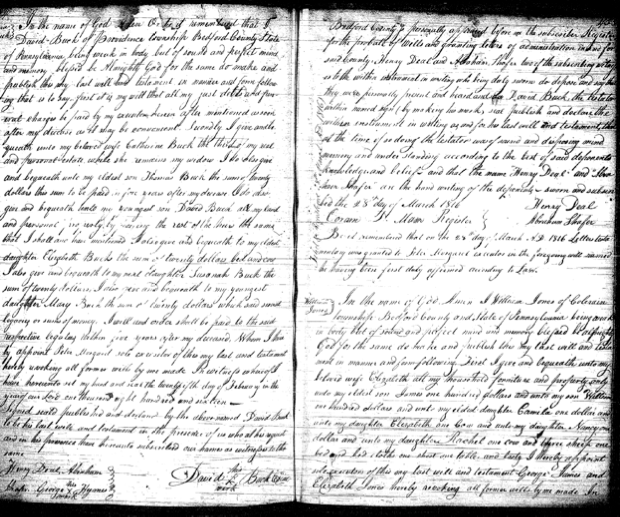 Copy of the actual will of David Buck, Sr. – 1816 Bedford Co., PA