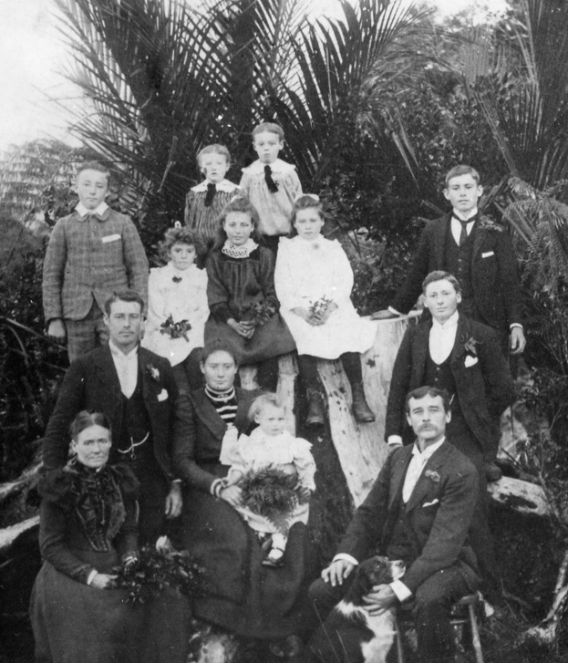 the lindsay family on their farm in towai nz 1901