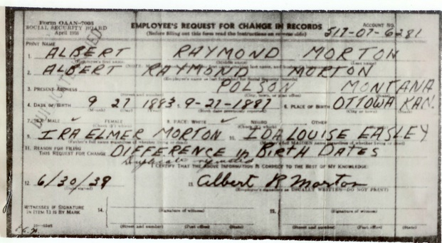 Delayed Birth Certificate for Albert Raymond Morton created May 15 ...