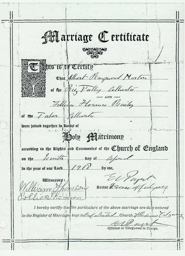 Marriage certificate for Albert Morton & Lillian Florence Bailey